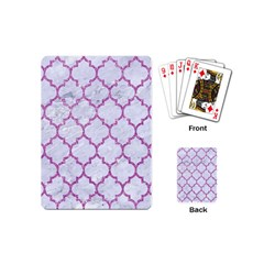 Tile1 White Marble & Purple Glitter (r) Playing Cards (mini)  by trendistuff