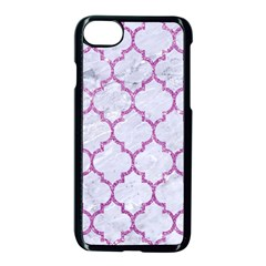 Tile1 White Marble & Purple Glitter (r) Apple Iphone 8 Seamless Case (black)