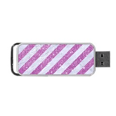 Stripes3 White Marble & Purple Glitter (r) Portable Usb Flash (two Sides) by trendistuff