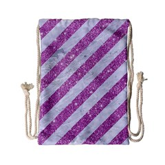 Stripes3 White Marble & Purple Glitter (r) Drawstring Bag (small) by trendistuff