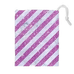 Stripes3 White Marble & Purple Glitter (r) Drawstring Pouches (extra Large) by trendistuff