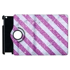 Stripes3 White Marble & Purple Glitter Apple Ipad 2 Flip 360 Case by trendistuff
