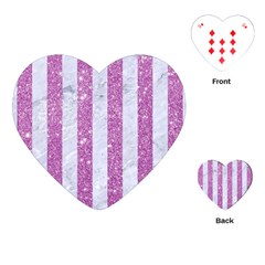Stripes1 White Marble & Purple Glitter Playing Cards (heart)  by trendistuff