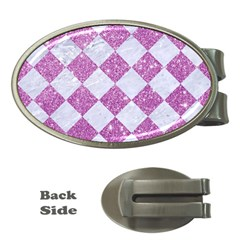 Square2 White Marble & Purple Glitter Money Clips (oval)  by trendistuff