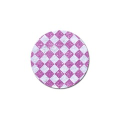 Square2 White Marble & Purple Glitter Golf Ball Marker (4 Pack) by trendistuff