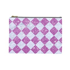 Square2 White Marble & Purple Glitter Cosmetic Bag (large)  by trendistuff