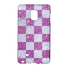 Square1 White Marble & Purple Glitter Galaxy Note Edge by trendistuff