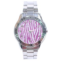 Skin4 White Marble & Purple Glitter (r) Stainless Steel Analogue Watch by trendistuff