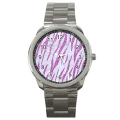 Skin3 White Marble & Purple Glitter (r) Sport Metal Watch by trendistuff