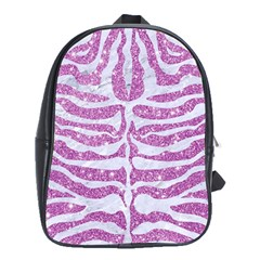 Skin2 White Marble & Purple Glitter School Bag (xl) by trendistuff