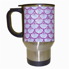 Scales3 White Marble & Purple Glitter (r) Travel Mugs (white) by trendistuff