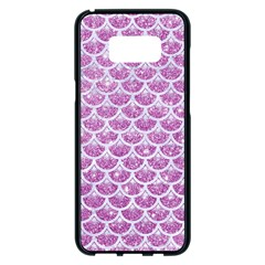 Scales3 White Marble & Purple Glitter Samsung Galaxy S8 Plus Black Seamless Case