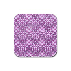 Scales2 White Marble & Purple Glitter Rubber Square Coaster (4 Pack)  by trendistuff