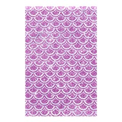 Scales2 White Marble & Purple Glitter Shower Curtain 48  X 72  (small)