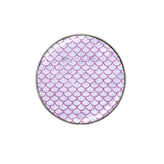 Scales1 White Marble & Purple Glitter (r) Hat Clip Ball Marker by trendistuff