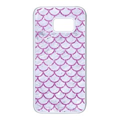 Scales1 White Marble & Purple Glitter (r) Samsung Galaxy S7 White Seamless Case