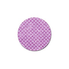 Scales1 White Marble & Purple Glitter Golf Ball Marker by trendistuff