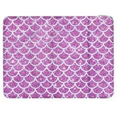 Scales1 White Marble & Purple Glitter Samsung Galaxy Tab 7  P1000 Flip Case by trendistuff