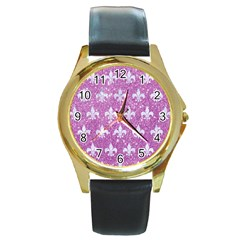 Royal1 White Marble & Purple Glitter (r) Round Gold Metal Watch by trendistuff