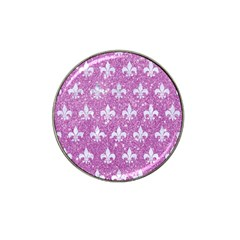 Royal1 White Marble & Purple Glitter (r) Hat Clip Ball Marker by trendistuff