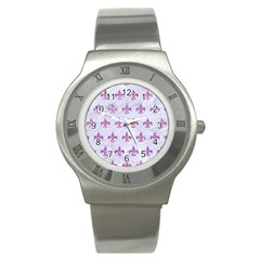 Royal1 White Marble & Purple Glitter Stainless Steel Watch by trendistuff