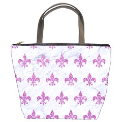 Royal1 White Marble & Purple Glitter Bucket Bags by trendistuff