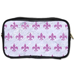 Royal1 White Marble & Purple Glitter Toiletries Bags by trendistuff