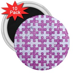Puzzle1 White Marble & Purple Glitter 3  Magnets (10 Pack)  by trendistuff