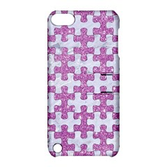 Puzzle1 White Marble & Purple Glitter Apple Ipod Touch 5 Hardshell Case With Stand by trendistuff