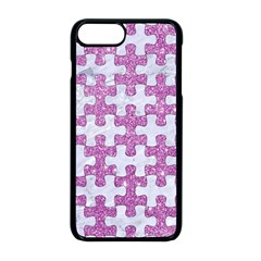 Puzzle1 White Marble & Purple Glitter Apple Iphone 8 Plus Seamless Case (black)