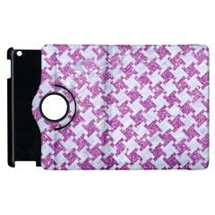 Houndstooth2 White Marble & Purple Glitter Apple Ipad 2 Flip 360 Case by trendistuff