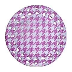 Houndstooth1 White Marble & Purple Glitter Round Filigree Ornament (two Sides) by trendistuff