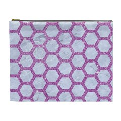 Hexagon2 White Marble & Purple Glitter (r) Cosmetic Bag (xl) by trendistuff