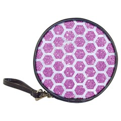 Hexagon2 White Marble & Purple Glitter Classic 20 Cd Wallets by trendistuff