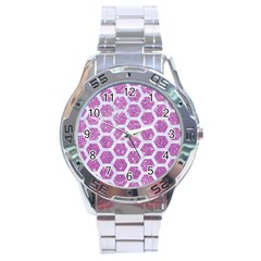 Hexagon2 White Marble & Purple Glitter Stainless Steel Analogue Watch by trendistuff