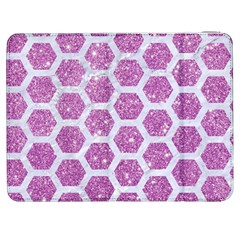 Hexagon2 White Marble & Purple Glitter Samsung Galaxy Tab 7  P1000 Flip Case by trendistuff