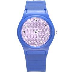 Hexagon1 White Marble & Purple Glitter (r) Round Plastic Sport Watch (s) by trendistuff