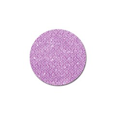 Hexagon1 White Marble & Purple Glitter Golf Ball Marker by trendistuff