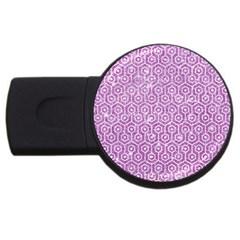 Hexagon1 White Marble & Purple Glitter Usb Flash Drive Round (2 Gb) by trendistuff