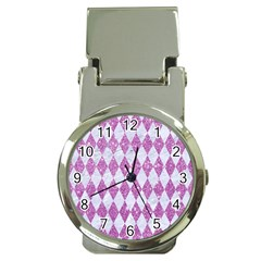 Diamond1 White Marble & Purple Glitter Money Clip Watches by trendistuff