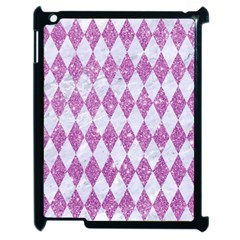 Diamond1 White Marble & Purple Glitter Apple Ipad 2 Case (black) by trendistuff