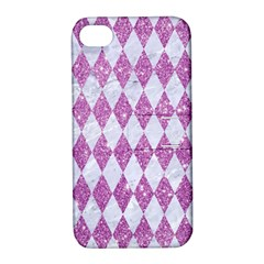 Diamond1 White Marble & Purple Glitter Apple Iphone 4/4s Hardshell Case With Stand by trendistuff