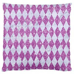 Diamond1 White Marble & Purple Glitter Large Flano Cushion Case (one Side) by trendistuff