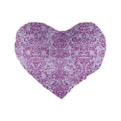 Damask2 White Marble & Purple Glitter (r) Standard 16  Premium Heart Shape Cushions by trendistuff