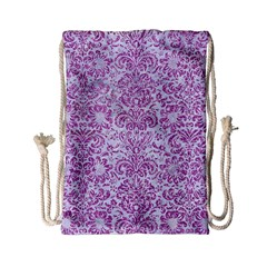 Damask2 White Marble & Purple Glitter (r) Drawstring Bag (small) by trendistuff