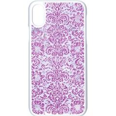 Damask2 White Marble & Purple Glitter (r) Apple Iphone X Seamless Case (white)