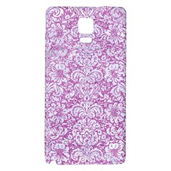 Damask2 White Marble & Purple Glitter Galaxy Note 4 Back Case by trendistuff