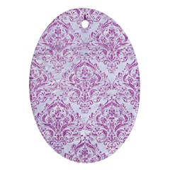 Damask1 White Marble & Purple Glitter (r) Oval Ornament (two Sides)