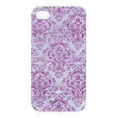Damask1 White Marble & Purple Glitter (r) Apple Iphone 4/4s Hardshell Case by trendistuff