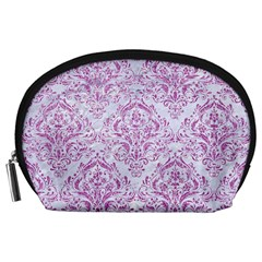 Damask1 White Marble & Purple Glitter (r) Accessory Pouches (large)